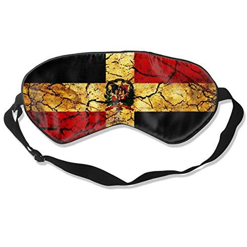 Schlafmaske, Vintage-Stil, Dominikanische Republik Flagge, Seide, Maske mit verstellbarem Kopfband, Block, leichtes Nickerchen