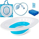 Sitz Bath for Toilet Hemorrhoids Postpartum Care, Perineal Soaking Bath Over The Toilet Seat, Collapsible Sitz Basin with Flusher for Vaginal Anal Inflammation Treatment, Yoni Steam Seat, White/Blue