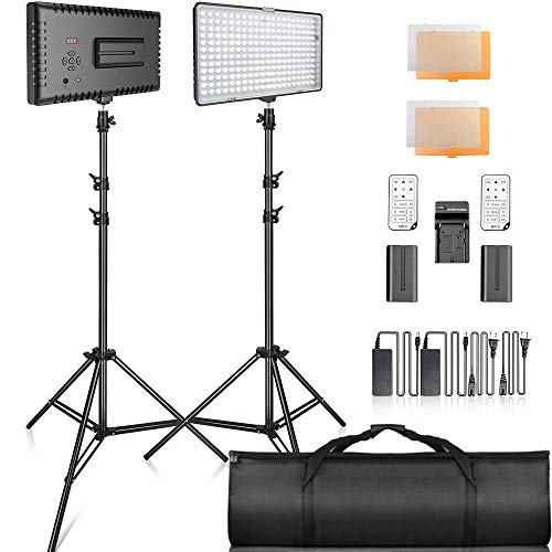 SAMTIAN 2-Pack 240PCS Dimmable LED Video Light 3200K 5600K Panel Light and 79 Inches Stand Lighting Kit with Remote Control Carry Case for YouTube Studio Photography, Video Shooting, Livestreaming