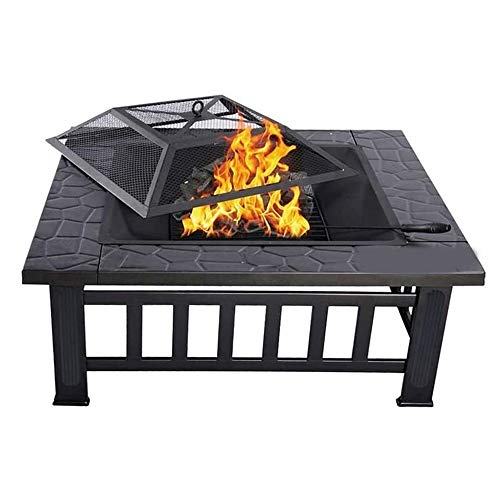 LBSX 32'' Outdoor Fire Pit Metal Square Firepit Patio Stove Wood Burning BBQ Grill Fire Pit Bowl with Spark Screen Cover, Log Grate, Poker for Backyard Garden Camping Picnic Bonfire