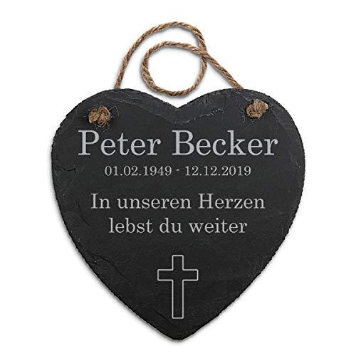 Paule Black Gedenktafel mit Gravur für Menschen Schiefer Herz 20 x 20,5 cm inkl. Hanfschnur - Individueller Text