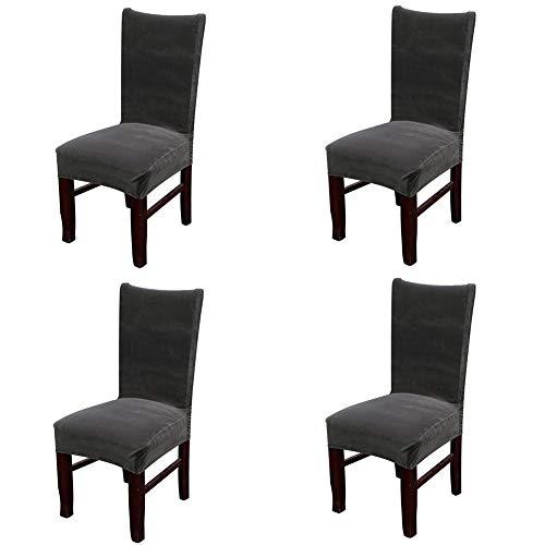 smiry Velvet Stretch Esszimmer Stuhlhussen, Weiche abnehmbare waschbar Esszimmerstühle Schonbezüge, 4er Set, Dunkelgrau