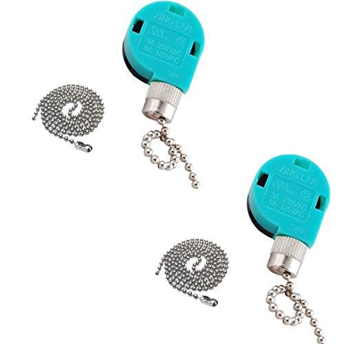 Interruptor de ventilador de techo Zing Ear Pull Chain Switch ZE-268S6 3 velocidades 4 cable Pull Chain Switch Control Ventilador de techo Reemplazo Speed Control Switch (2 unidades de níquel)