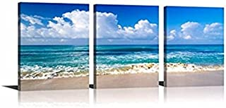 YPY Blue Ocean Sea Wall Decorations Seascape Beach Sand Canvas Material Ready to Hang for Living Room Bedroom 16x24in
