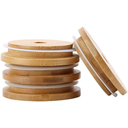 Basage Tapones de Bambú para Botellas Mason con Orificios de Pajilla, para Jarra Mason de Boca Regular de 70 Mm (con Junta TóRica) 4 Piezas