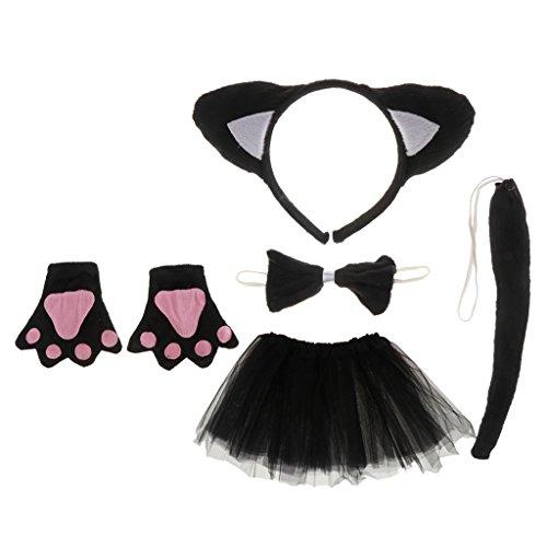 Gazechimp Gato Diadema Corabatín Guantes Tutú Vestido Disfraz Baile de Disfraces de Color Negro para Xmas