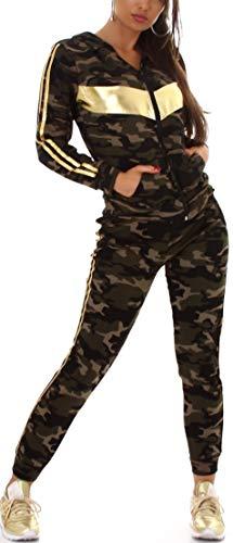 Jela London Damen Trainingsanzug Jogginganzug High-Waist Stretch Hausanzug Kapuzen-Sportjacke, Camouflage 62 Gold 34-36 (S/M)