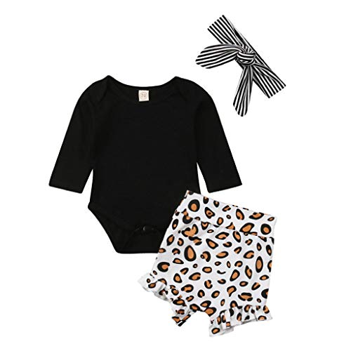 Kleinkind Kinder Baby Mädchen Dreiteiliger Kleidung Set Langarmshirts Strampler Tops Leopardenmuster Hosen Haarband Outfits, Schwarz, 18-24 Monate
