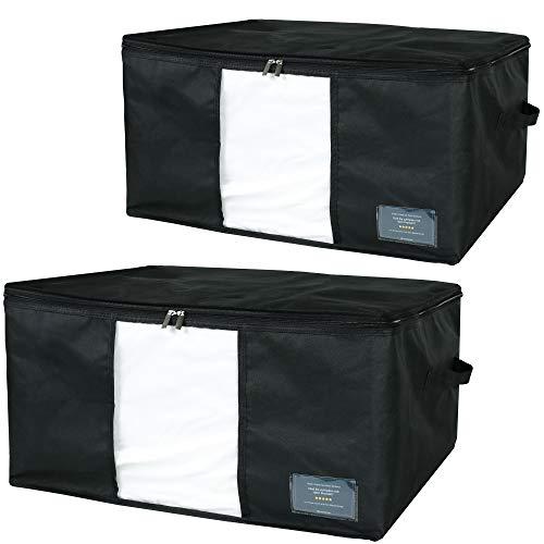 Goodington 2er Set Aufbewahrungstasche für Bettwäsche und Kissen, Kleidung, Decken, Kleideraufbewahrung & Schuhe | Faltbare Aufbewahrungsboxen | 60 x 45 x 30 cm