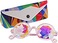 TOPERSUN Rave Glasses Kaleidoscope Glasses Prism Glasses Used EDM Party (Pink)