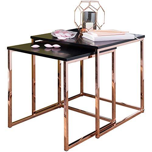 FineBuy Tavoli di nidificazione MDF/Metallo Set di 2 Nero/Rame | Tavolo da Salotto Moderno | Tavolino da Salotto Piazza