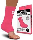 Manguito de compresión para tobillo para hombres y mujeres (1 par) - El mejor soporte para tobillo para aliviar el dolor, recuperación de lesiones, hinchazón, esguince, soporte del tendón de Aquiles, espolón del talón, calcetines para fascitis plantar