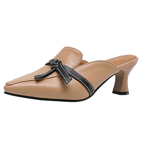 LUXMAX Damen Mules Pantoletten mit Blockabsatz Spitz Slipper mit 6cm Absatz Schuhe