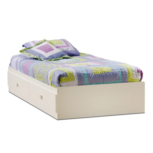 South Shore Furniture, Sand Castle Collection, Twin Mates Bed, Pure White