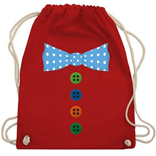 Shirtracer Karneval & Fasching - Clown Kostüm Blaue Fliege - Unisize - Rot - clown kostüm rucksack - WM110 - Turnbeutel und Stoffbeutel aus Baumwolle