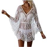Yolmook Robe de Plage Femme Blouse Tenu de Plage Maillots de Bain Blouse Bikini Cover Up Bikini Couvrir Bohème Mousseline de Soie Dentelle Gland Tricot Crochet Tunique(One Size,Blanc)