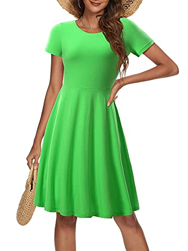 HUHOT Green Tinkerbell Dress Adult Crew Neck Loose Short Solid Color A line Flowy Dress