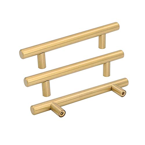 25pcs goldenwarm Brushed Brass Kitchen Cabinet Hardware Pull Handles T Bar Handles Gold Drawer Pulls Knobs Hole Spacing 102mm