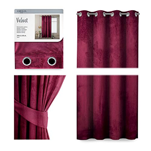 AmeliaHome Cortina de terciopelo con aspecto aterciopelado, 140 x 245 cm, color rojo vino, 1 unidad, cortina opaca para ventanas, ligera, brillante, decorativa, cortina decorativa