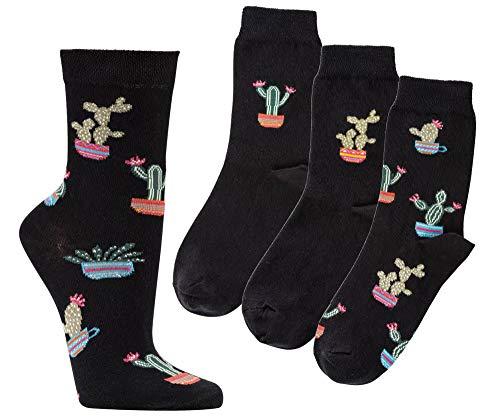 TippTexx 24 6 Paar Damensocken sortiert, Damensöckchen mit vielen modischen Motiven und zusätzlicher Garantie (a2) (Kaktus, 35/38)