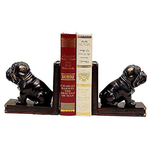 1 par de sujetalibros estilo retro vintage para cachorros |Tapón y extremo de libro de resina |Separadores de libros decorativos para escritorios |Sujetalibros decorativos para estantes Oficina, es