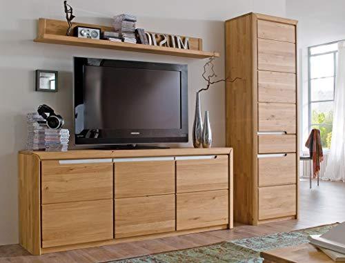 Wohnwand Pisa 34 Eiche Bianco massiv 3-teilig Medienwand TV-Wand Wohnzimmer TV-Möbel