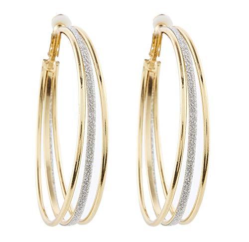 Boucles d'oreilles clips - Plaqué or avec trois cerceaux - Créoles - Kanda G par Bello London