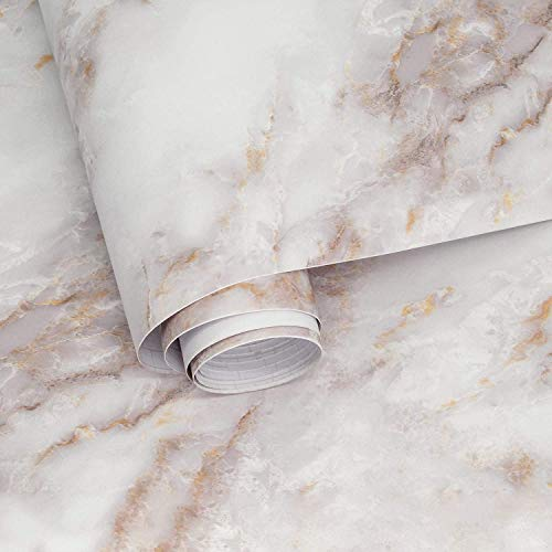 Marble Wallpaper White Peel and Stick Wallpaper Self Adhesive Vinyl Film for Furniture Decorate Matte Cleanable Removable Cleanable Countertop Cabinet Bathroom Thick Shelf Liner