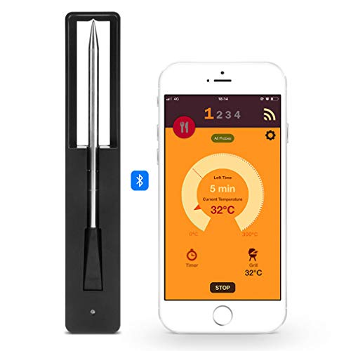 WYING Kabellos Küche Fleischthermometer Intelligentes Bluetooth Grillzubehör Thermometer für Ofengrill Unterstützt Android 8.0 und iOS