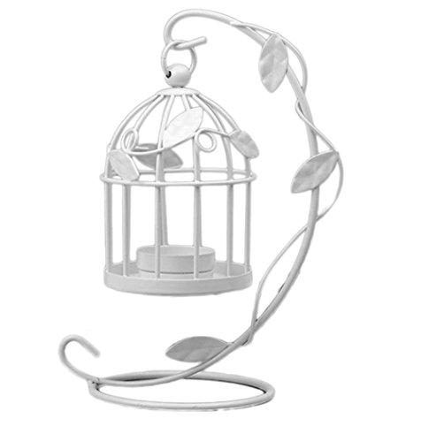 CAOLATOR Bügeleisen Kerzenständer Halter Blätter Kandelaber Kerzenhalter Vintage Metall Deko Laternen Hohle Hängend Hochzeit Tischdekoration Kerzenstaender Weiß