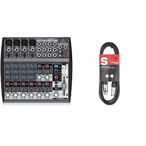 Behringer XENYX 1202FX Mischpult & Mikrofonkabel High Quality - 3 Meter - 1x XLR Male - 1x XLR Female