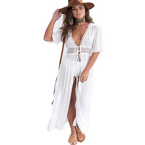 Saída de praia feminina sexy, cor lisa, roupa de natação, manga curta, cintura oca, cardigã solto, Branco, M