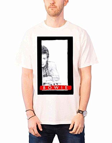David Bowie T Shirt Profile Aladdin Sane Nuovo Ufficiale Uomo Bianca Size XL