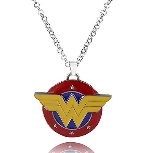 Jcveghyg Film Et Télévision Entourant DC Justice League Collier Wonder Woman Logo Pendentif en Forme De W Pull Chaîne Cadeau pour Les Fans Cosplay