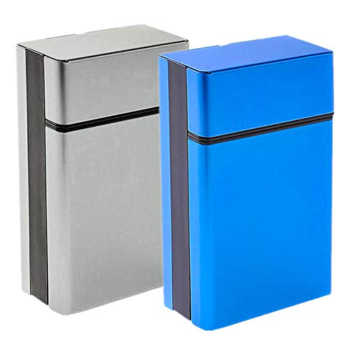 roygra Cigarette Case 85mm King Size 2 Boxes (18-20 Capacity) One-Handed Operation Sturdy Cigarette Holder Metal Exterior and Plastic Inner (Gary + Blue)
