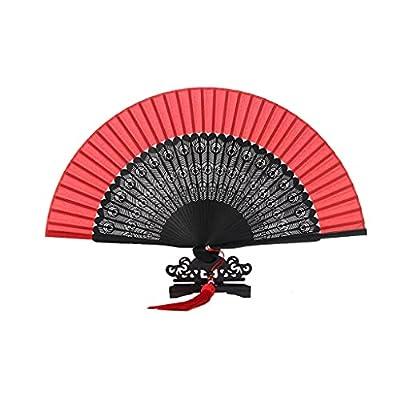 Material: estos ventiladores plegables están hechos de seda y cabeza de bambú verde. Dimensiones: Longitud cerrada 8.2 pulgadas (21 cm), ancho completamente abierto 14.9 pulgadas (38 cm) Tamaño pequeño, peso ligero, fácil de transportar. Adecuado par...