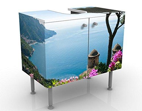 View From The Garden Over The Sea mueble de diseño de 60x55x35cm, pequeño, 60cm de ancho, ajustable, mesa de lavabo, mueble de lavabo, lavabo, mueble bajo, bañera, baño, mueble de baño