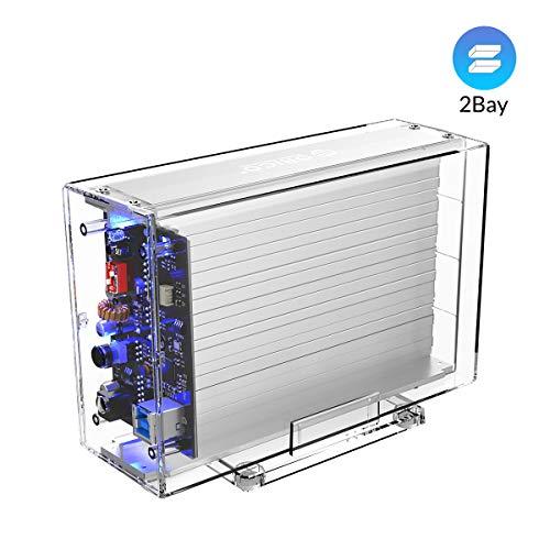 ORICO 2 Bay 3,5-Zoll-Dockingstation RAID 0/1/PM/SPAN, Transparentes externes Festplattenschachtgehäuse USB3.0 bis SATA I II III für 7-9,5 mm-HDD-SSD sunterstützung UASP mit 5V2A-Adapter