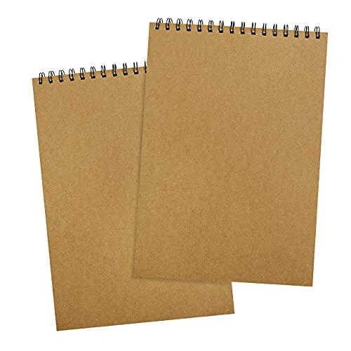 Belle Vous Bloc Dibujo A4 con 46 Paginas de 128 GSM (Pack de 2) 21 x 29,5 cm - Cuaderno Pintura Acuarela, Bocetos Artista con Tapa - Libreta Dibujo Papel Blanco para Dibujo y Pintar