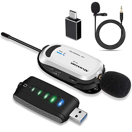 USB ワイヤレスマイク Alvoxcon 無線マイク ピンマイクワイヤレス イヤホン端子付き PC クリップマイク UHF 録音 動画撮影 拡声 モニタリング パソコン Androidフォン 軽量 日本語説明書 UM310