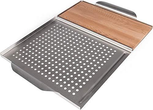Rustler Grillplatte 45 x 30,5 x 3 cm aus rostfreiem Edelstahl Silber mit Räucherbrett Grillplanke aus kanadischem Zedernholz zum Grillen von Fleisch, Fisch und Gemüse