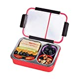 DEALPICK Bento Box 2 Compartments Stainless Steel Lunch Box for Adults and Kids, Portion Control...