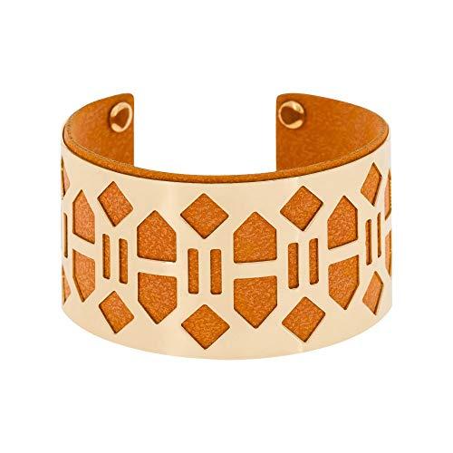 Mes-bijoux.fr armband banjul verguld kunstleer oranje