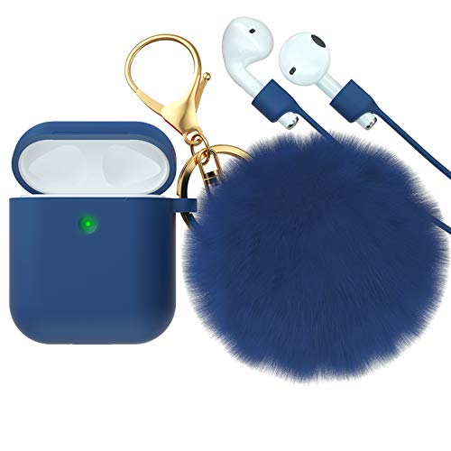 CTYBB for Airpod Case,Silicone Airpods Case Cover with Fur Ball Keychain Compatible with Apple Airpods 2/1 (Front LED Visible) Deep Blue