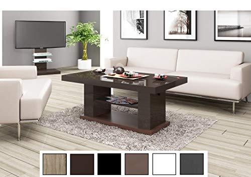 Design Couchtisch Tisch HN-777 Braun/Nussbaum Hochglanz höhenverstellbar ausziehbar Esstisch