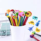 40pcs Lápices Infantiles Lápices de Dibujos Animados con Borrador + 2 Sacapuntas Pequeña Mejores Regalos de Cumpleaños Día del Niño Premios Escolares Navidad (Multicolor 01)