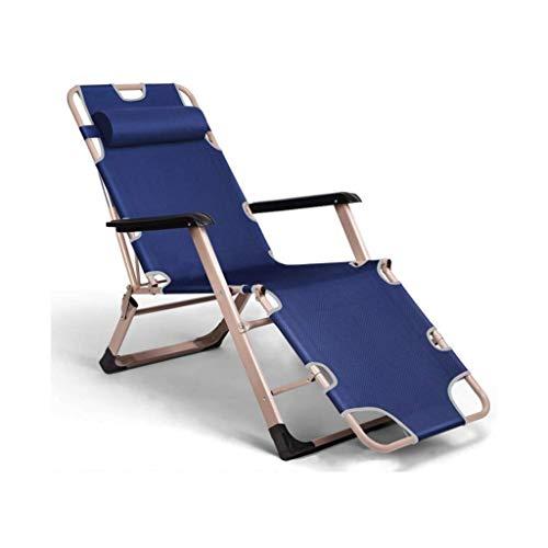 Silla de escritorio de oficina, silla de jardín, sillas de jardín de camping, sillas plegables de gravedad cero reclinables impermeables chaise tumbonas de metal para oficina al aire libre, azul, 79XQ