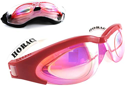 Horacx Swim Goggles, Vanguard Triathlon Swimming Goggles No Leaking Anti Fog UV Protection, Adult Swim Glasses Rainbow Coating Lens Silicone headstrap and Gasket Soft Comfortable, Men Women (Red)