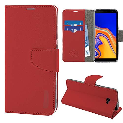 N NEWTOP Cover Compatibile per Samsung Galaxy J4 Plus, HQ Lateral Custodia Libro Flip Chiusura Magnetica Portafoglio Simil Pelle Stand (Rosso)