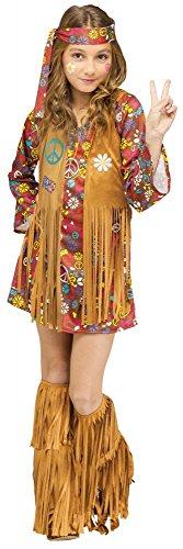 shoperama Peace and Love Hippie Kinder-Kostüm für Mädchen Groovy 60's Woodstock Sixties, Größe:134 - 8 bis 10 Jahre